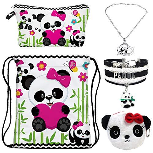 RLGPBON Panda Drawstring Backpack,Makeup Bag with Panda Necklace Gifts ,Panda Charm Bracelet ,Animal Jewelry Panda Lover Gift, Christmas Day Gift