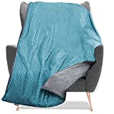Quility Weighted Blanket for Kids and Toddlers with Soft Cover - 10 lbs Single Size, Heavy, Machine Washable Quilt, Heating & Cooling - (41' X 60') (Aqua)