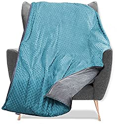 "Quility Premium Adult Weighted Blanket & Removable Cover - 15 lbs - 48""x72"" - for Individual Between 140-180 lbs - Twin Size Bed - Premium Glass Beads - Cotton/Minky - Grey/Aqua Color"