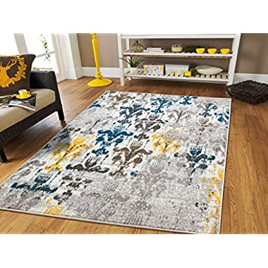 New Fashion Faded Style Luxury Rugs for Bedroom for Teens Modern Rugs 5x7 Contemporary Rug 5x8 Kitchen Rugs with Blue Grey Brown Yellow 5x7 Rugs For Living Room Under 50, 5x8 Rug