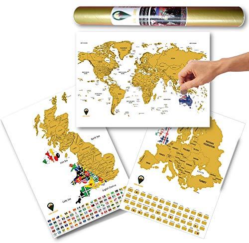 Global Walkabout Scratch Off World, Europa e Regno Unito mappa con bandiere sfondo – Deluxe Travel Size World, Europa e UK Map Poster – Paesi e fatti – Regalo di viaggio (bianco)
