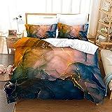 Orange Blue Marble Duvet Cover Set Queen Size Girls Bedding Abstract Marble Texture Gold Glitter Bedspread for Women Kids 1 Duvet Cover + 2 Pillow Cases