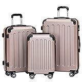 BEIBYE- Hartschalenkoffer Koffer Trolley Rollkoffer Reisekoffer Zahlenschloß 4 Zwilings-Rollen (Rosa-Gold, Koffer-Set)