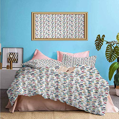 Hipster 3 Piece Duvet Cover Teenager Fun Pattern with Mustache Photo Camera Scooter Sneakers and Sunglasses Best Hotel Luxury Bedding Multicolor – Comforter Cover and 2 Pillow Shams Twin Size