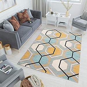 Tapiso Lazur Alfombra Salón Dormitorio Juvenil Diseño Moderno Negro Turquesa Amarillo Gris Hexágono Friso 180 x 260 cm