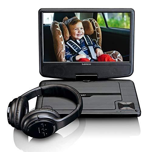 Lenco DVP-947 - Tragbarer Auto DVD-Player Mit Bluetooth Kopfhörer - Schwarz