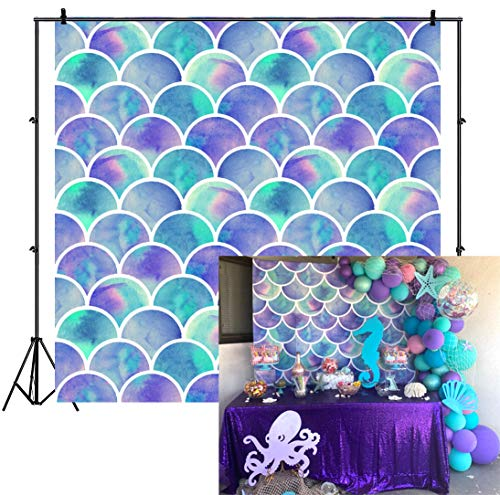 Laeacco 8x8ft Mermaid Party Vinyl Photography Background Swanky Gradient Color Mermaid Scales Backdrop Birthday Party Banner Girls Portrait Shoot Wallpaper Studio Props