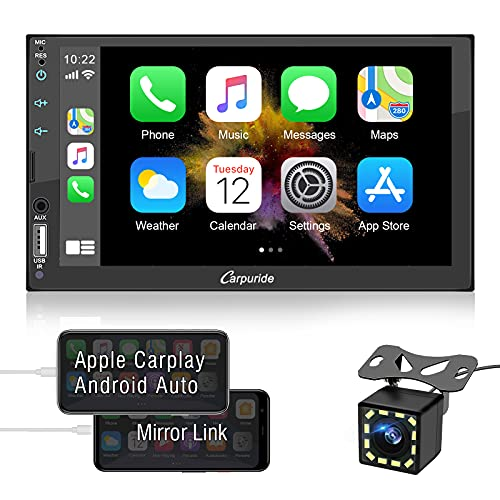 7 Inch Double Din Car Stereo Compatible with Apple Carplay and Android Auto, Touchscreen Car Audio Receiver with Bluetooth, Mirror Link, Backup Camera, USB/TF/AUX Port, A/V in, SWC, FM/AM Radio