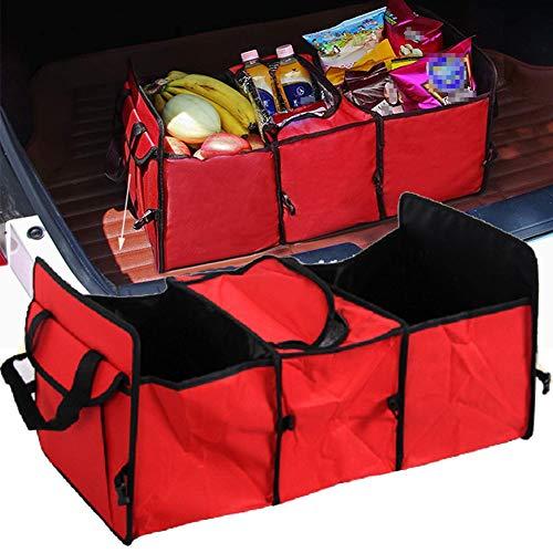 HIMAPETTR Plegable Organizador Maletero Coche, Organizador Maletero Coche con Función De Aislamiento, con Múltiples Compartimentos Bolsas para Maletero del Coche, Material De Tela Oxford,Rojo