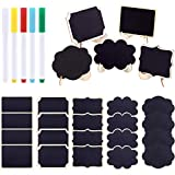 Swpeet 30Pcs 5 Designs Mini Chalkboards Signs with Liquid Chalk Markers Assortment Kit, Chalkboards Blackboard for Weddings, Birthday Parties, Table Numbers, Message Board Signs and Event Decoration