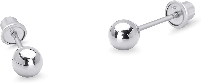 14k White Gold 2-6mm Plain Hollow Gold Ball Children Screw back Baby Girls Stud Earrings
