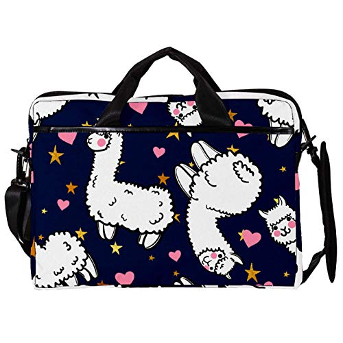 Unisex Computer Tablet Satchel Bag,Lightweight Laptop Bag,Canvas Travel Bag,13.4-14.5Inch with Buckles Cute Animal Alpaca Heart