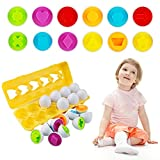 Seamuing Matching Eggs Set para Niños, 12 piezas Color y Forma de Huevo a Juego para el Viaje de Pascua Juego de Bingo Aprendizaje Temprano Educativo Motricidad Fina Montessori Regalo