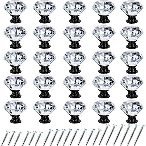 Crystal Drawer Cabinet Knobs Diamond Shaped Crystal Glass Knobs Pulls 30mm for Dresser Kitchen Wardrobe Cupboard (25 Pack, Black)