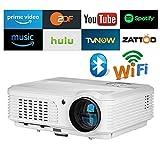Home Proiettore Bluetooth Senza fili HD HDMI Airplay Apps Android 4200 Lumen per iPhone Mac Tablet PC Laptop DVD Gaming, LED LCD Portatile Smart WXGA Proiettore 1280x800 per giochi di film con Wifi