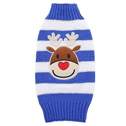 Amphia - Elch-Pullover mit Hundehalsband - Haustier-Hundekatze-Winter-Warmer Turtleneck-Elch-Strickjacke-Kostüm-Kleid(Blau,XXL)
