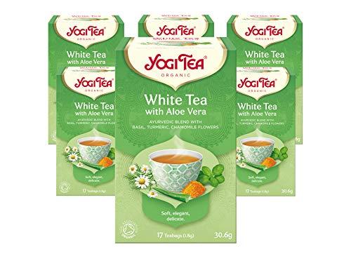 Yogi Tea White Tea with Aloe Vera Organic Herbal Tea, Blend of Basil, Turmeric and Chamomile Flowers, Pack of 6 x 17 Bags (102 Tea Bags Total)