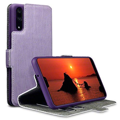 TERRAPIN, Kompatibel mit Huawei P20 Hülle, Leder Tasche Case Hülle im Bookstyle mit Standfunktion Kartenfächer - Lila