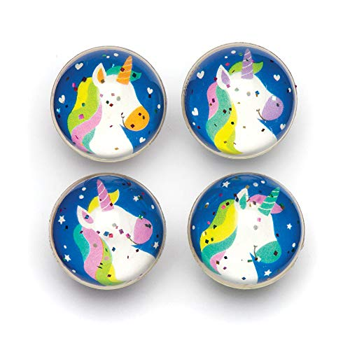 Baker Ross Pelotas de goma de unicornios de colores con purpurina para niños - Perfectos para bolsas sorpresa de fiestas infantiles (pack de 8)
