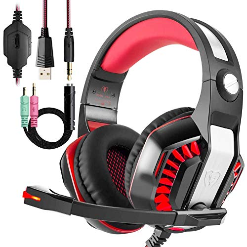 Wired Pro Gaming Headset with Mic for Xbox one PC PS4, Noise Cancelling Over Ear Gaming Headphones, Stereo Bass Surround Sound, LED Light, MacBook Laptop Game Earphone Accessories