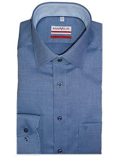 Marvelis Modern Fit Hemd Extra Langer Arm 69cm bügelfrei- Uni Struktur mit Besatz Reine Baumwolle, Größe:44, Farbe:blau