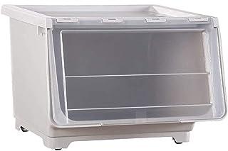 YWAWJ 防塵ストレージボックスの前面扉収納ボックス子供のおもちゃの収納ボックスコーナートップサイドドア服ストレージボックス四色のストレージ&組織 (Color : White)