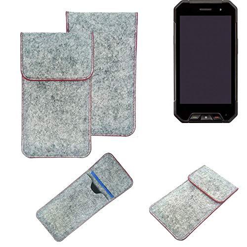K-S-Trade® Handy Schutz Hülle Für Cyrus CS 27 Schutzhülle Handyhülle Filztasche Pouch Tasche Hülle Sleeve Filzhülle Hellgrau Roter Rand