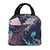 Yuanmeiju Dragon and Peacock Feather Stylish Lunch Bag for Women and Teen Girls Cute Insulated Lunch Box for Work School Travel