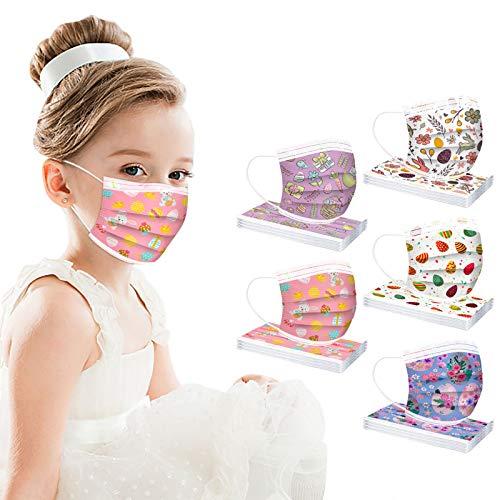 50 Pcs Easter Disposable Face Mask for Kids Girls Boys Coronɑvịrus Protectịon Rabbit Easter Eggs Mask Breathable 3 Ply (50 Pcs L)