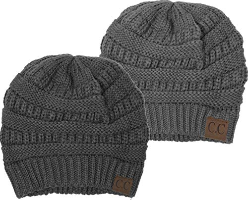 H-6020a-2-5170 Solid Beanie Bundle - Heather Grey & Charcoal (2 Pack)