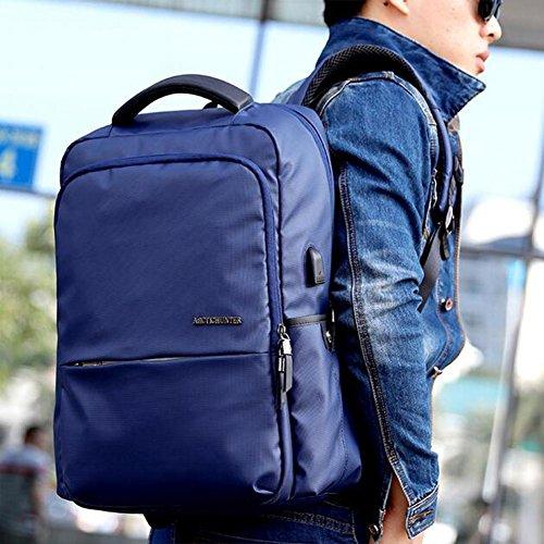 beibao shop Backpack - 18 Pouces Ordinateur Sac à Dos USB Mode Imperméable Résistant à l'usure Grande capacité Affaires Hommes et Femmes Sac à Dos, Blue, 18 inches