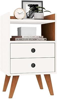 Mesa de Cabeceira Retrô Dream Plus - Off White com Nature - Rpm Móveis