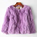 SHOUBANG Abrigo Abrigo De Piel Diseño De Mujer Abrigo De Piel De Conejo Abrigo De Piel Natural Completo O-Cuello Delgado Abrigo De Piel De Conejo Delgado