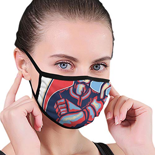 Comfortable Windproof mask,Illustration of An Ice Hockey Player Holding Stick In Retro Style,Printed Facial Decorations for Women and Men