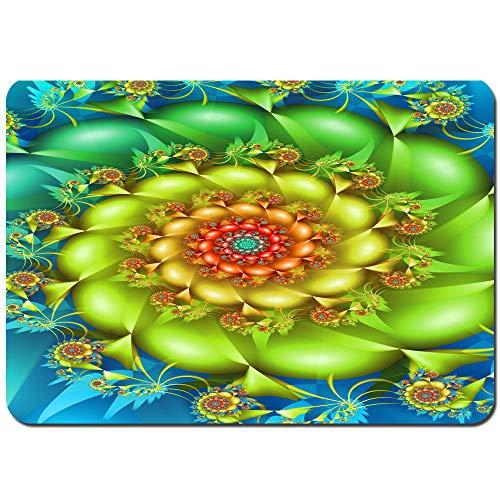 3dFlower Badematte rutschfeste Bunte spiralförmige fraktale wirbelnde Blumen in lebendigen Farben Whirlpool Image Vortex,Badezimmer Teppich Waschbar Badvorleger