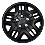 TuningPros WC-16-1025-B 16-Inches Pop On Type Improved Hubcaps Wheel Skin Cover Matte Black Set of 4