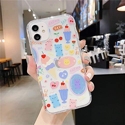 QWP Oso de Dibujos Animados de teléfono del iPhone for el 11 Pro MAX XR XS MAX 7 8 Plus X TPU Lindo Cartas Cubierta for el Regalo Volver (Color : N, Material : For iPhone 11)