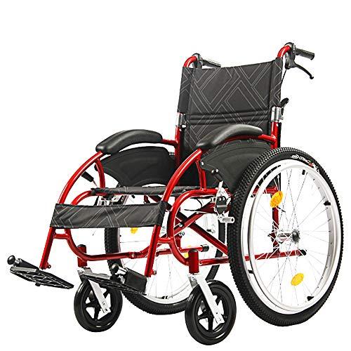 EMOGA Aluminium Faltbar Rollstuhl Leicht Rädern Transport Stuhl Mit PU Armlehnen,Sitzbreite 49 cm,Transportrollstuhl Reiserollstuhl,Belastbarkeit 115 Kg