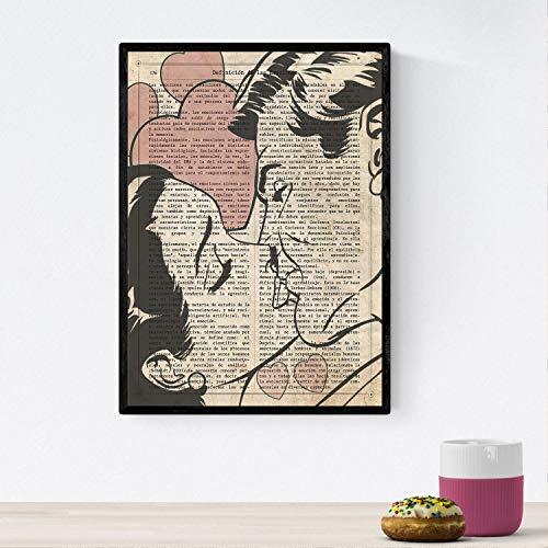 Nacnic Poster de Pop Art. Lámina de Beso 2. Diseños coloridos con temática Pop Art. Tamaño A4