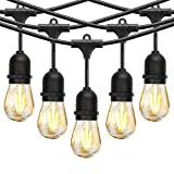 48Ft LED Outdoor String Lights Plastic Bulbs, Patio String Light with 15 Shatterproof 2W Dimmable Edison Vintage UL Listed Commercial Grade Connectable Weatherproof Strand Porch Market Light
