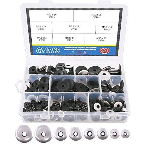 Glarks 320Pcs Stainless Steel Neoprene Backed EPDM Bonded Sealing Washers Assortment Kit Work for #4/ #5/ #6 Screws