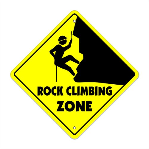 Gift Idea for Climbers Yellow Rock Climbing Zone Sign