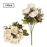 Tifuly Bouquets de Roses artificielles, 2 grappes 12 têtes de Fleurs de Soie Faux Boutons de Rose pour la décoration de Mariage d'hôtel à la Maison, Arrangement Floral, centres de Table(Champagne)