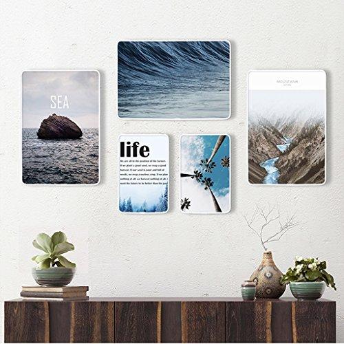 Ensemble de cadre photo, 5 Set Collage de cadres photo, combinaison créative, en bois massif (Couleur : E)