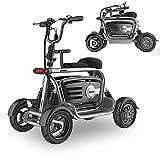 Elektromobil Klappbar, Elektrisch Leichter Tragbarer Mobiler Rollstuhl Kompakter 4-Rad Reise faltbarer Scooter Mit Sitz Für Erwachsene ältere Menschen Mit Behinderungen (48V10AH/35-40KM,Einzelantrieb)