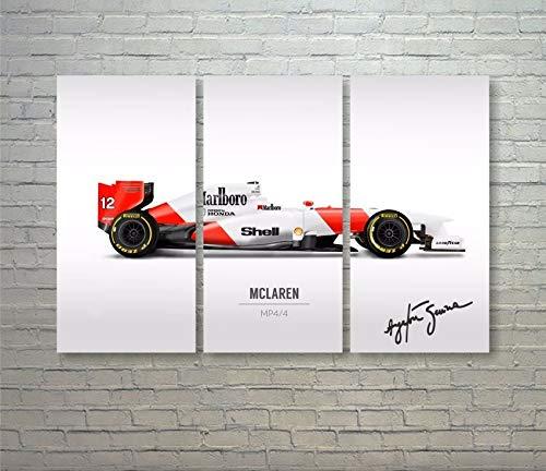 Quadro Ayrton Senna Mclaren Mp4/4 Asm-13 Fórmula 1 em MDF - 90X60