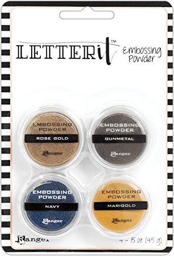 Ranger Metallics Metallic Embossing Powder Set, Synthetisches Material, Mehrfarbig, 14.6 x 9.9 x 2.1 cm