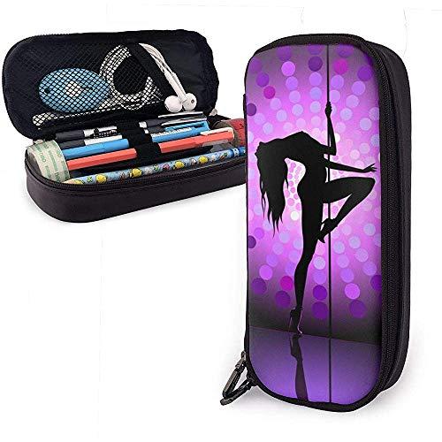Sexy Pole Dancer Purple Pencil Case School Pen Bags Pencil Stationary Pouch Case Makeup Bag Cuero de PU