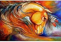 クロスステッチ刺繍キット、塗られた馬家の装飾ギフト用のDIY子供用初心者アート印刷パターン刺繍キット(11CT 40X50cm)