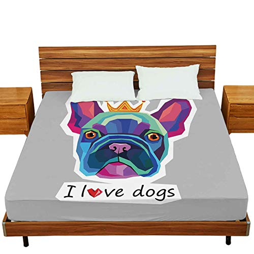 Mattress Protectors Twin Size, Dog Vector Breed Cute pet Animal Bulldog French, 1-Piece Fitted Sheet